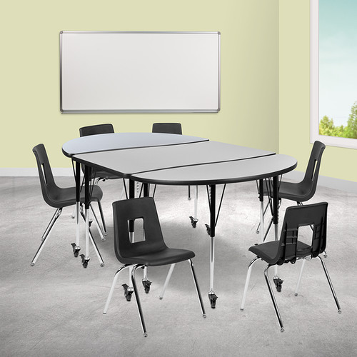 """Mobile 76"""" Oval Wave Collaborative Laminate Activity Table Set w/18"""" Student Stack Chairs, Grey/Black"""