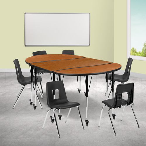 """Mobile 76"""" Oval Wave Collaborative Laminate Activity Table Set w/18"""" Student Stack Chairs, Oak/Black"""