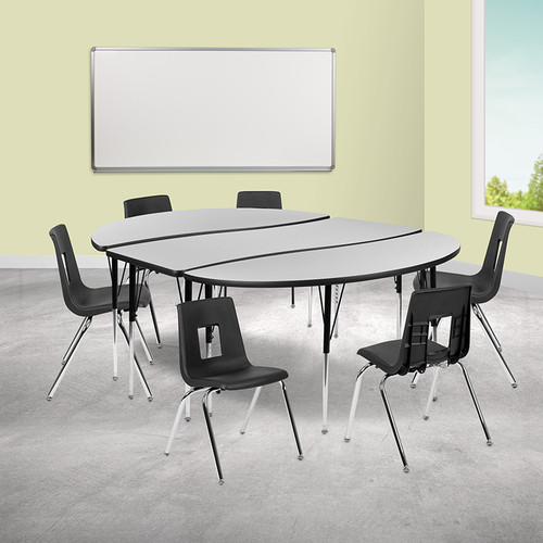 """86"""" Oval Wave Collaborative Laminate Activity Table Set w/18"""" Student Stack Chairs, Grey/Black"""