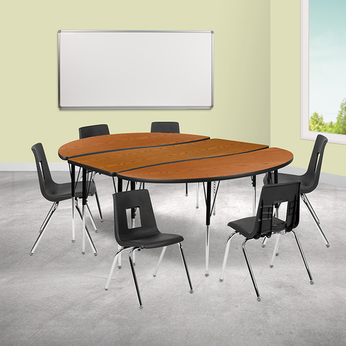 """86"""" Oval Wave Collaborative Laminate Activity Table Set w/18"""" Student Stack Chairs, Oak/Black"""