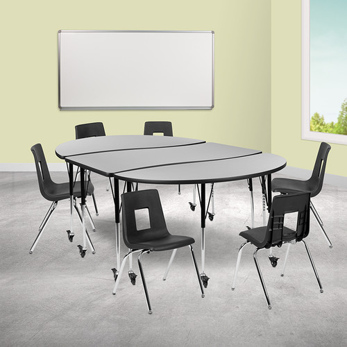 """Mobile 86"""" Oval Wave Collaborative Laminate Activity Table Set w/18"""" Student Stack Chairs, Grey/Black"""