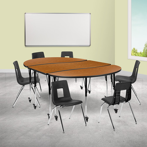 """Mobile 86"""" Oval Wave Collaborative Laminate Activity Table Set w/18"""" Student Stack Chairs, Oak/Black"""