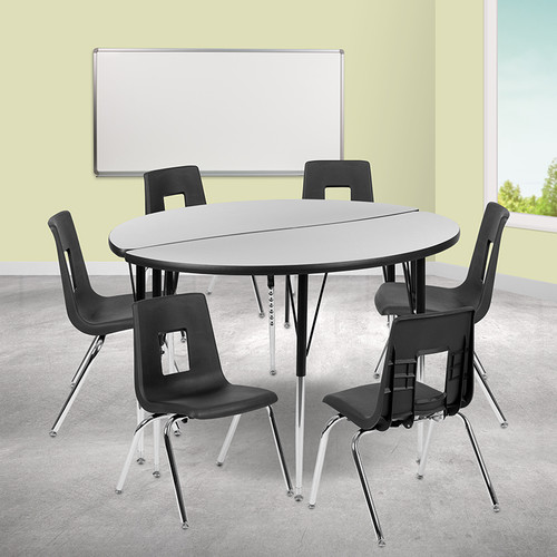 """47.5"""" Circle Wave Collaborative Laminate Activity Table Set w/18"""" Student Stack Chairs, Grey/Black"""