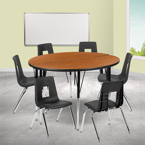 """47.5"""" Circle Wave Collaborative Laminate Activity Table Set w/18"""" Student Stack Chairs, Oak/Black"""