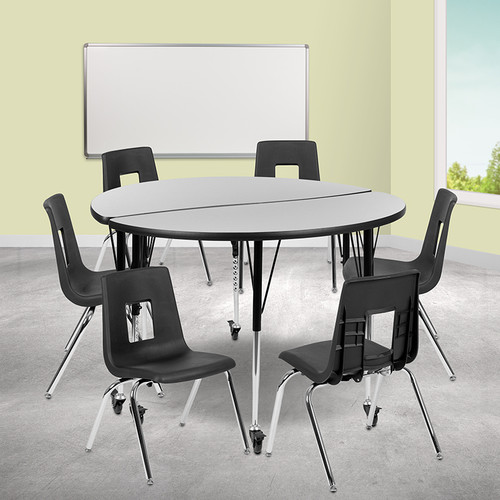 """Mobile 47.5"""" Circle Wave Collaborative Laminate Activity Table Set w/18"""" Student Stack Chairs, Grey/Black"""
