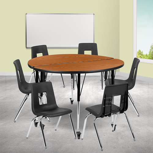 """Mobile 47.5"""" Circle Wave Collaborative Laminate Activity Table Set w/18"""" Student Stack Chairs, Oak/Black"""