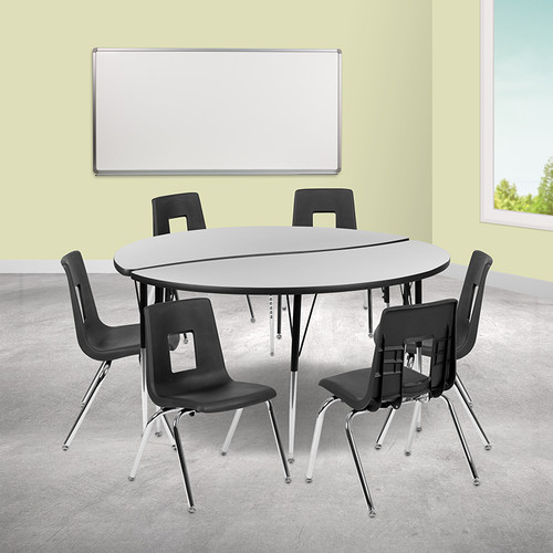 """60"""" Circle Wave Collaborative Laminate Activity Table Set w/18"""" Student Stack Chairs, Grey/Black"""