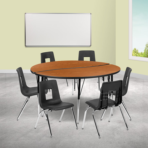 """60"""" Circle Wave Collaborative Laminate Activity Table Set w/18"""" Student Stack Chairs, Oak/Black"""