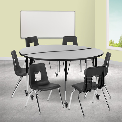 """Mobile 60"""" Circle Wave Collaborative Laminate Activity Table Set w/18"""" Student Stack Chairs, Grey/Black"""