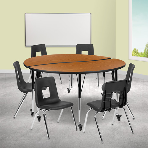 """Mobile 60"""" Circle Wave Collaborative Laminate Activity Table Set w/18"""" Student Stack Chairs, Oak/Black"""
