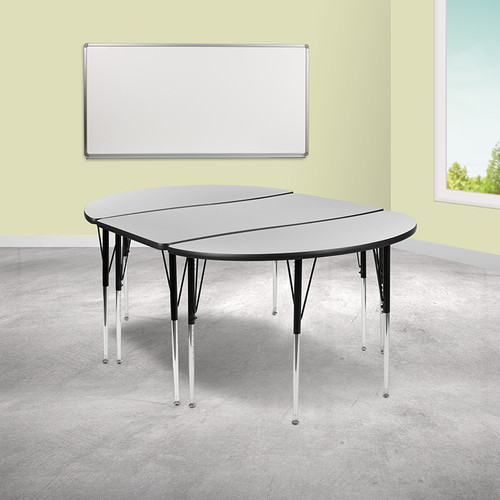 "3 Piece 76"" Oval Wave Collaborative Grey Thermal Laminate Activity Table Set - Standard Height Adjustable Legs"