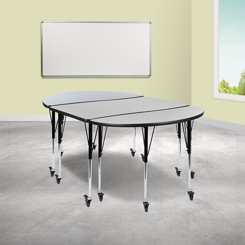 "3 Piece Mobile 76"" Oval Wave Collaborative Grey Thermal Laminate Activity Table Set-Standard Height Adjustable Legs"