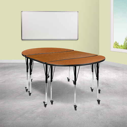 "3 Piece Mobile 76"" Oval Wave Collaborative Oak Thermal Laminate Activity Table Set-Standard Height Adjustable Legs"