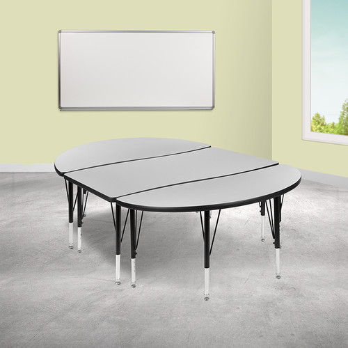 "3 Piece 76"" Oval Wave Collaborative Grey Thermal Laminate Activity Table Set - Height Adjustable Short Legs"