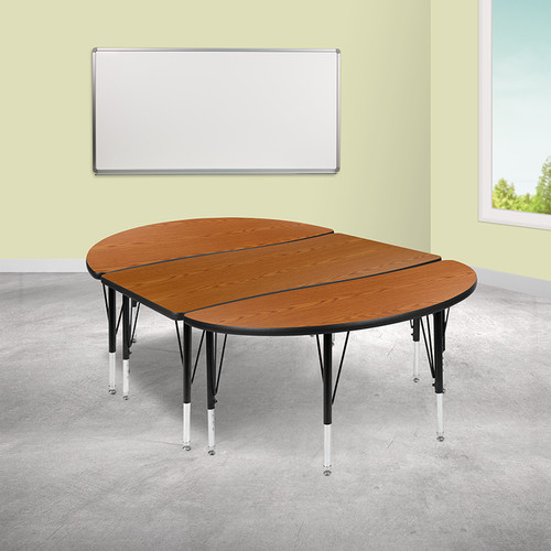"""3 Piece 76"""" Oval Wave Collaborative Oak Thermal Laminate Activity Table Set - Height Adjustable Short Legs"""
