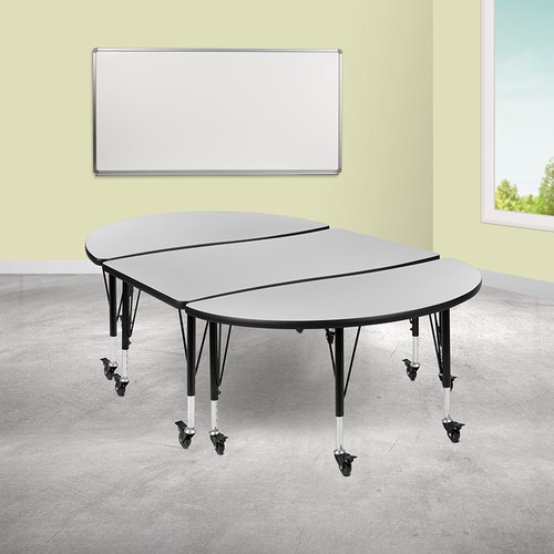 "3 Piece Mobile 76"" Oval Wave Collaborative Grey Thermal Laminate Activity Table Set - Height Adjustable Short Legs"