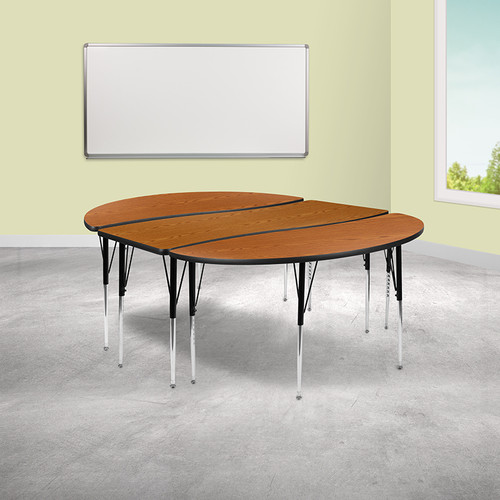 """3 Piece 86"""" Oval Wave Collaborative Oak Thermal Laminate Activity Table Set - Standard Height Adjustable Legs"""