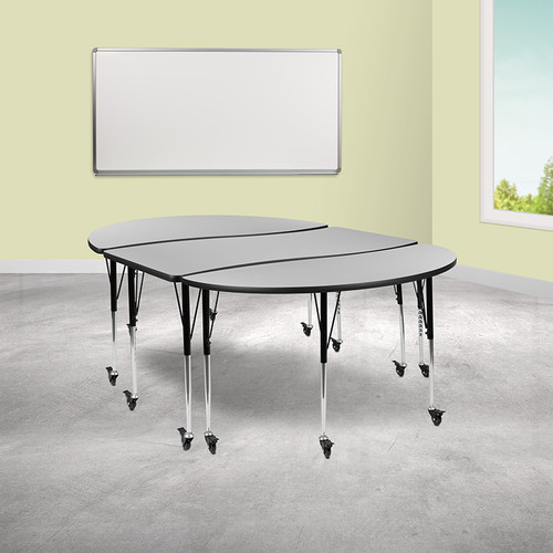 "3 Piece Mobile 86"" Oval Wave Collaborative Grey Thermal Laminate Activity Table Set-Standard Height Adjustable Legs"