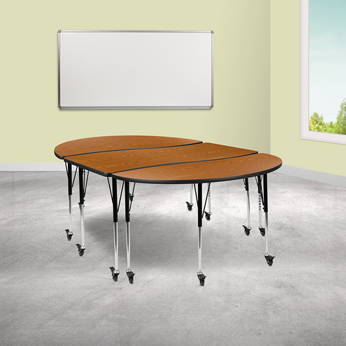 "3 Piece Mobile 86"" Oval Wave Collaborative Oak Thermal Laminate Activity Table Set-Standard Height Adjustable Legs"