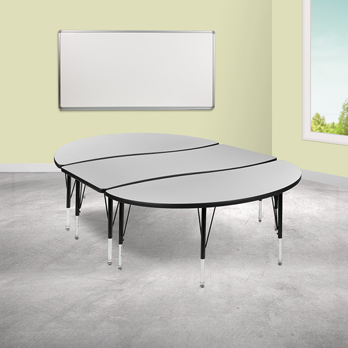 "3 Piece 86"" Oval Wave Collaborative Grey Thermal Laminate Activity Table Set - Height Adjustable Short Legs"