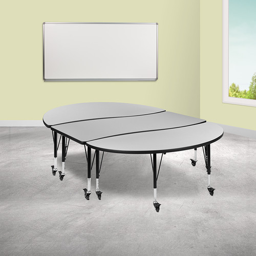 "3 Piece Mobile 86"" Oval Wave Collaborative Grey Thermal Laminate Activity Table Set - Height Adjustable Short Legs"