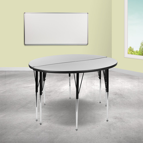 "2 Piece 47.5"" Circle Wave Collaborative Grey Thermal Laminate Activity Table Set - Standard Height Adjustable Legs"