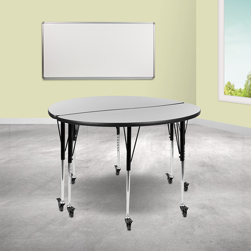 "2 Piece Mobile 47.5"" Circle Wave Collaborative Grey Thermal Laminate Adjustable Activity Table Set"