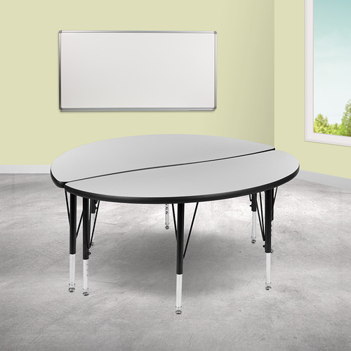 "2 Piece 47.5"" Circle Wave Collaborative Grey Thermal Laminate Activity Table Set - Height Adjustable Short Legs"