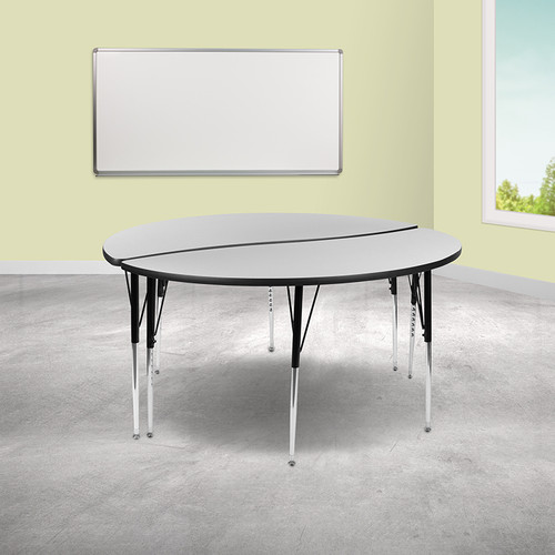 """2 Piece 60"""" Circle Wave Collaborative Grey Thermal Laminate Activity Table Set - Standard Height Adjustable Legs"""