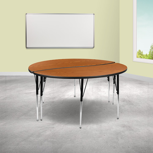 """2 Piece 60"""" Circle Wave Collaborative Oak Thermal Laminate Activity Table Set - Standard Height Adjustable Legs"""