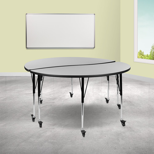"2 Piece Mobile 60"" Circle Wave Collaborative Grey Thermal Laminate Adjustable Activity Table Set"