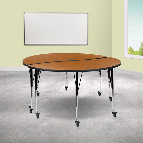 "2 Piece Mobile 60"" Circle Wave Collaborative Oak Thermal Laminate Adjustable Activity Table Set"