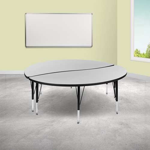 "2 Piece 60"" Circle Wave Collaborative Grey Thermal Laminate Activity Table Set - Height Adjustable Short Legs"