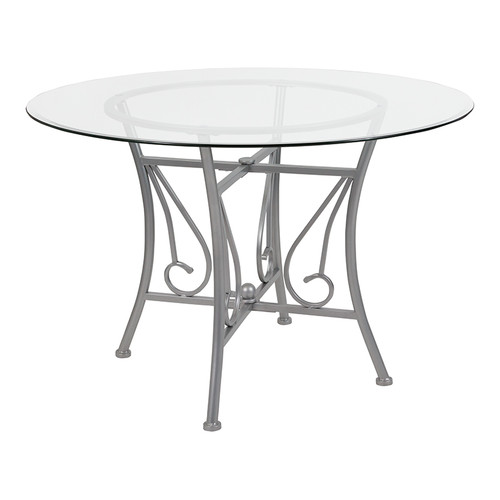 Princeton 45'' Round Glass Dining Table w/Silver Metal Frame