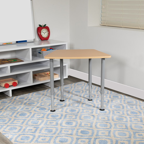 """Hex Natural Collaborative Student Desk (Adjustable from 22.3"""" to 34"""") - Home & Classroom"""
