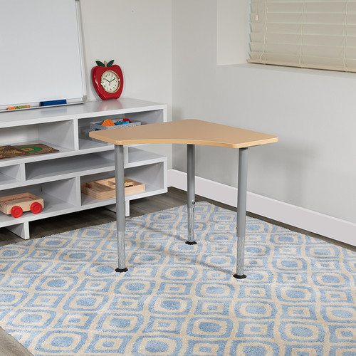 """Triangular Natural Collaborative Student Desk (Adjustable from 22.3"""" to 34"""") - Home & Classroom"""