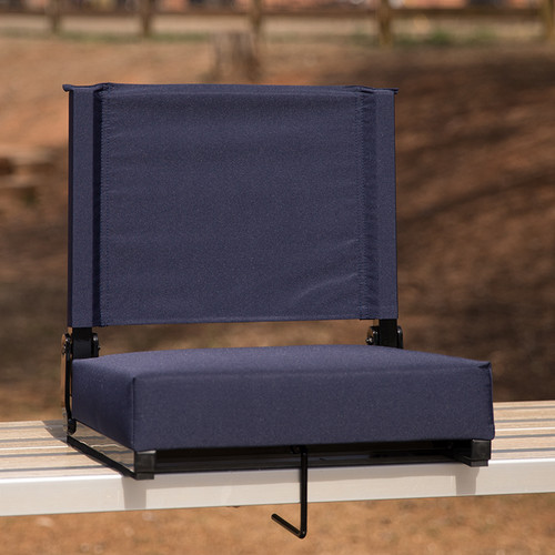 Grandstand Comfort Seats by Flash w/500 LB. Weight Capacity Lightweight Aluminum Frame & Ultra-Padded Seat in Navy
