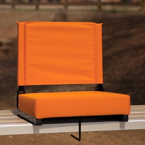 Grandstand Comfort Seats by Flash w/500 LB. Weight Capacity Lightweight Aluminum Frame & Ultra-Padded Seat in Orange