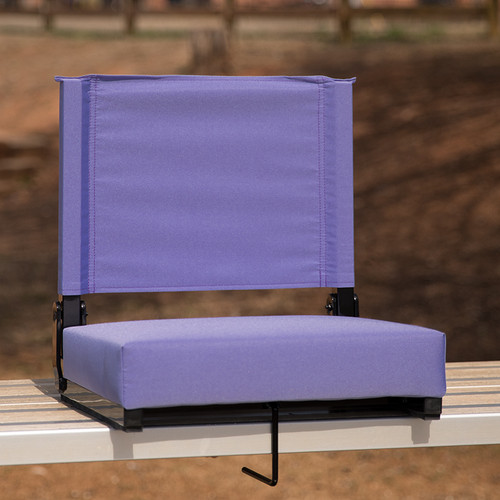 Grandstand Comfort Seats by Flash w/500 LB. Weight Capacity Lightweight Aluminum Frame & Ultra-Padded Seat in Purple
