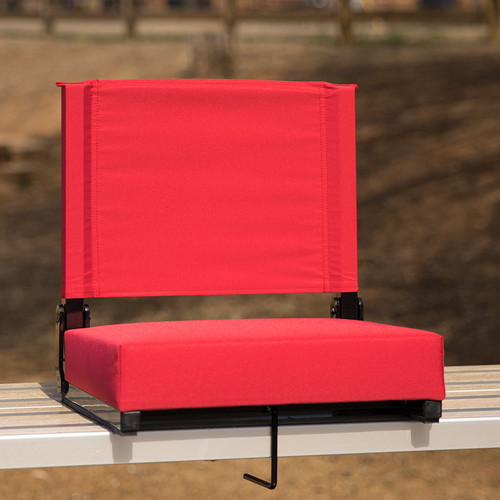 Grandstand Comfort Seats by Flash w/500 LB. Weight Capacity Lightweight Aluminum Frame & Ultra-Padded Seat in Red