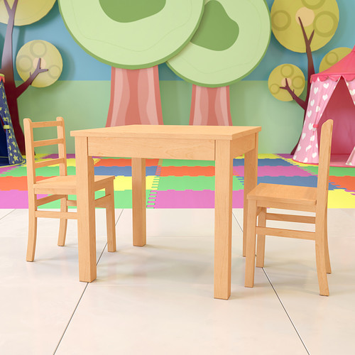 Kids Natural Solid Wood Table & Chair Set for Classroom, Playroom, Kitchen
