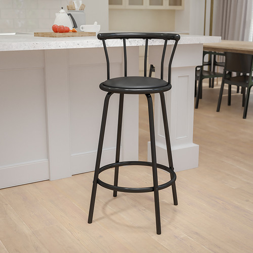 Crown Back Black Metal Barstool w/Black Vinyl Swivel Seat