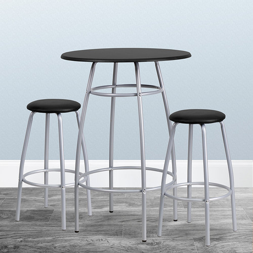 Bar Height Table Set w/Padded Stools