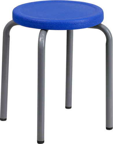 Stackable Stool w/Blue Seat & Silver Powder Coated Frame