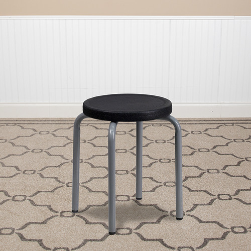 Stackable Stool w/Black Seat & Silver Powder Coated Frame