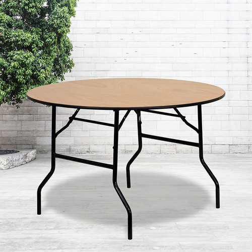 4-Foot Round Wood Folding Banquet Table w/Clear Coated Finished Top