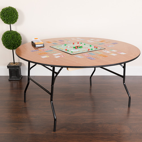 5-Foot Round Wood Folding Banquet Table w/Clear Coated Finished Top