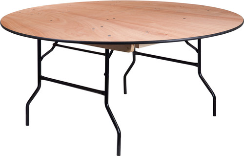 5.5-Foot Round Wood Folding Banquet Table w/Clear Coated Finished Top