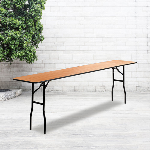 8-Foot Rectangular Wood Folding Training / Seminar Table w/Smooth Clear Coated Finished Top