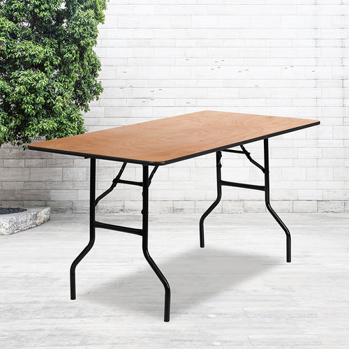5-Foot Rectangular Wood Folding Banquet Table w/Clear Coated Finished Top